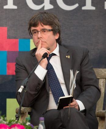 El expresidente de la Generalitat y líder de Junts per Catalunya (JxCat), Carles Puigdemont, durante su participación en una conferencia del foro internacional Beyond Borders sobre el futuro de Cataluña y Europa.