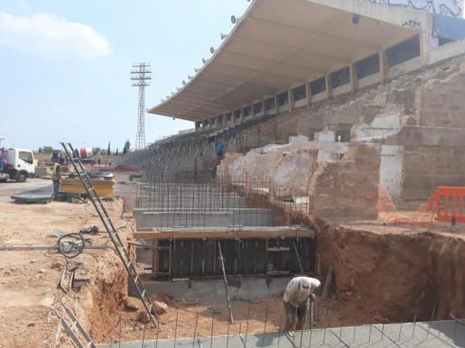 Imagen del estado actual de las obras de remodelación del Estadi Balear.