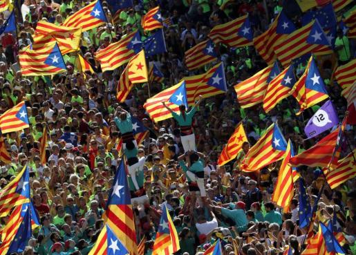 'Castellers' durante la Diada de Catalunya de 2017