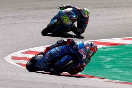 El mallorquín Joan Mir en un momento de la disputa del Gran Premio de San Marino en el circuito de Misano.