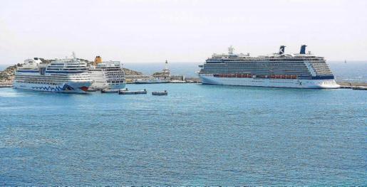 Visto de varios cruceros en el puerto de Palma.
