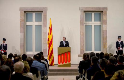 El presidente de la Generalitat Quim Torra, durante su discurso.