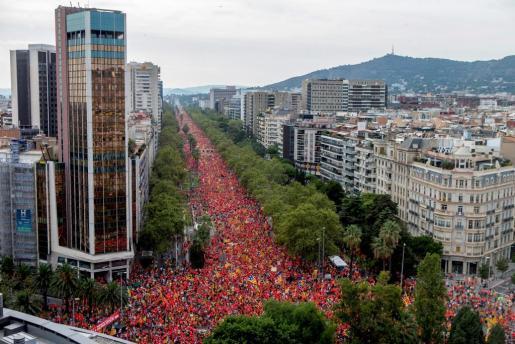 Plano general del ambiente en Barcelona en la Diada de Cataluña.