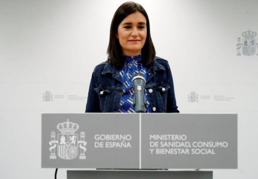 La ministra de Sanidad, Carmen Montón, en rueda de prensa ofrecida este martes en la sede del Ministerio en la que ha informado sobre su dimisión.