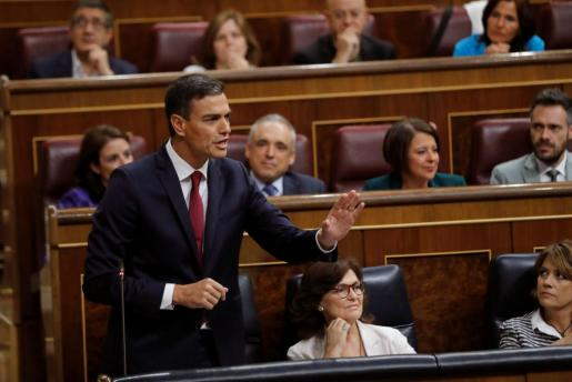 El presidente del Gobierno, Pedro Sánchez, interviene en la sesión de control al Gobierno en el Congreso.