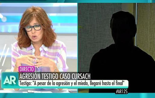 El testigo protegido, durante su intervención en el programa de Ana Rosa Quintana.