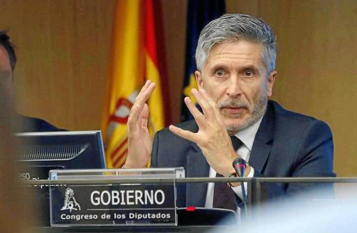 El ministro del Interior, Fernando Grande-Marlaska, durante una comparecencia en el Congreso de los Diputados.