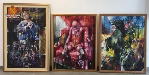 Estos son los cuadros robados, y recuperados por la Guardia Civil, en una vivienda de Calvià.