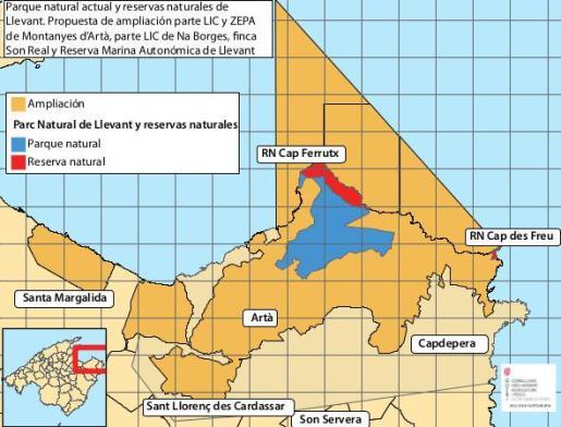 Gráfico de la propuesta de ampliación del Parc de Llevant.