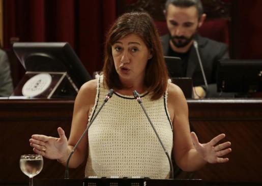 Francina Armengol, durante su intervención este miércoles en el Parlament.