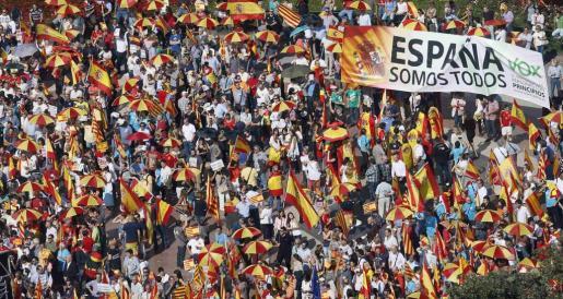Imagen de la concentración en favor de España del año 2014, en Barcelona.