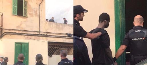 Dos imágenes del atrincherado de este lunes en Palma.