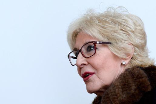 La actriz Concha Velasco, durante la presentación en el Teatro Calderón de Valladolid del estreno de 'El Funeral', obra que ha tenido que suspender por una neumonía.