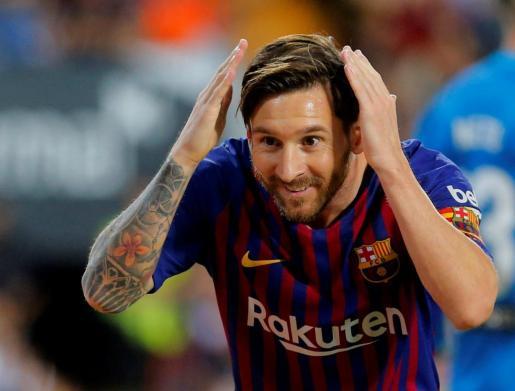 Lionel Messi durante el partido contra el Valencia.