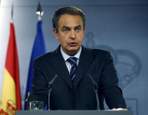 José Luis Rodríguez Zapatero, durante la declaración que realizó cuenado era Presidente del Gobierno en el Palacio de Moncloa.