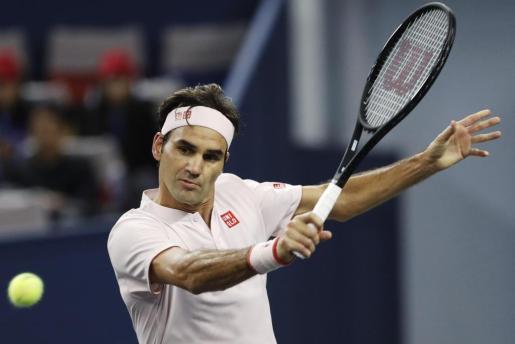 Roger Federer, durante el partido que disputó ante Coric.