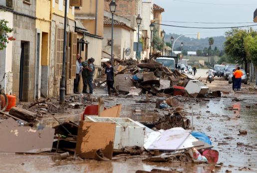 Imagen de una de las calles de Sant Llorenç tras la tormenta del martes 9 de octubre.