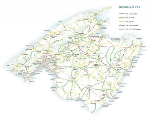 El mapa señala en distintos colores los tipos de vías.