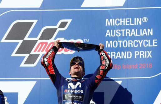 Viñales celebra en Australia la victoria de la carrera de MotoGP.