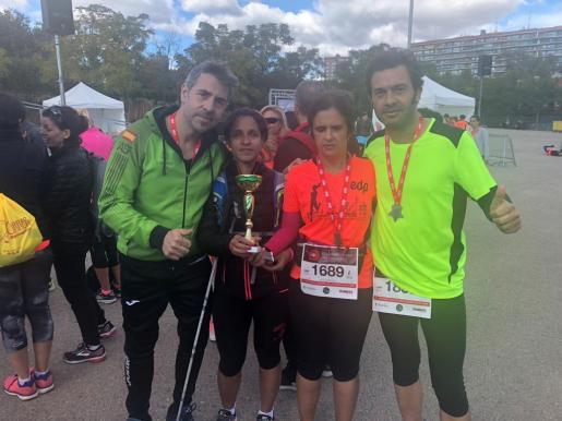 Antonio Raya (guía), Ana Lucía (runner ciega de Madrid), Carmen Soler (runner ciega de Mallorca) y su guía Germán Hilling.