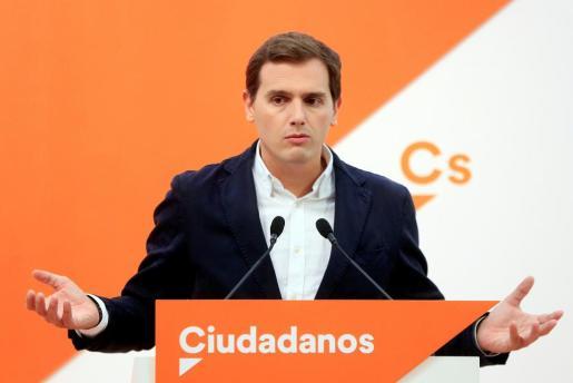 El líder de Ciudadanos Albert Rivera, durante la rueda de prensa tras el Comité Permanente de Ciudadanos, esta mañana en Madrid.
