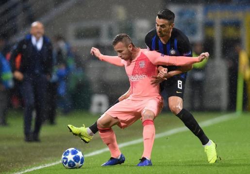 Un momento del partido disputado por el Inter de Milan y el FC Barcelona.