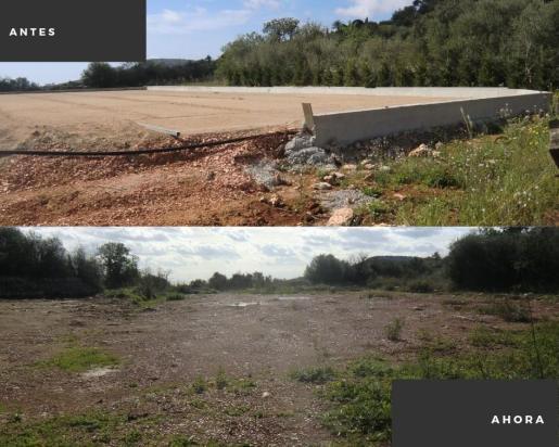 Este era el aspecto del terreno y el actual, tras las sanciones interpuestas por la Agència de Defensa del Territori.