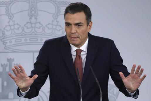 Pedro Sánchez, durante la rueda de prensa de este miércoles.