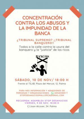 Cartel de la concentración contra el impuesto de las hipotecas que se celebrará este sábado en Palma.