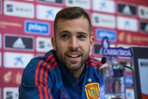 Jordi Alba, durante la rueda de prensa ofrecida este martes.