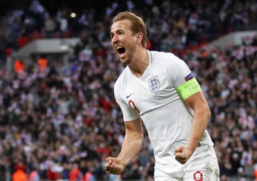 Harry Kane celebra el segundo gol de la selección inglesa ante Croacia, en Wembley.