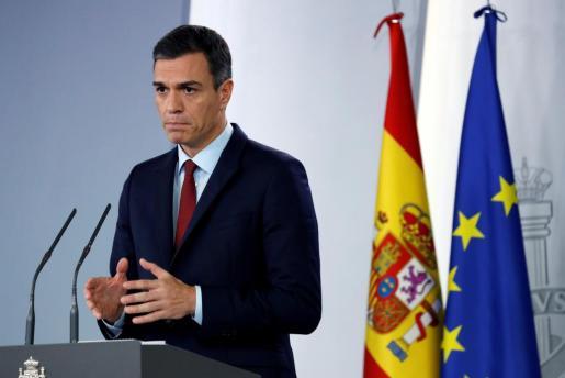El presidente del Gobierno, Pedro Sánchez, en comparecencia este sábado en el Palacio de la Moncloa, en Madrid, en la que ha anunciado que España ha alcanzado un acuerdo sobre Gibraltar.
