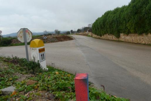 Vista de un tramo e la carretera de Porreres a Llucmajor.