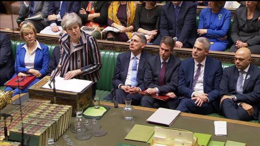 Theresa Maydurante su intervención en la Cámara de los Comunes.