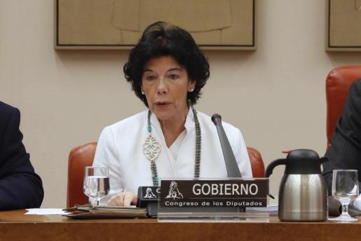 La ministra de Educación, Isabel Celaá, durante su comparecencia para presentar por primera vez a los grupos parlamentarios del Congreso las directrices del anteproyecto con el que quiere reformar o derogar la Lomce.