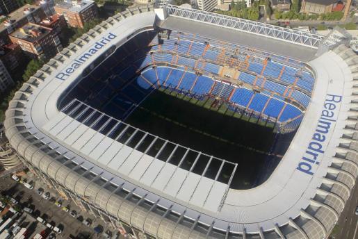 Vista aérea del estadio Santiago Bernabéu.