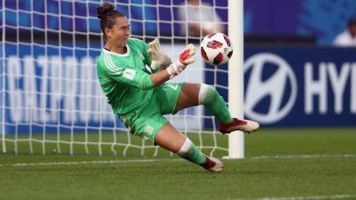 Imagen de la portera mallorquina Cata Coll durante la disputa del Mundial sub 20.