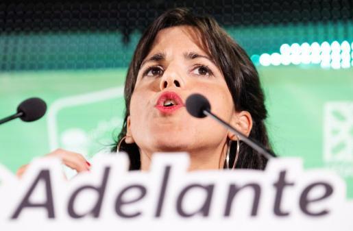 La candidata a la presidencia de la Junta de Andalucía por Adelante Andalucía, Teresa Rodríguez, comparece tras el escrutinio de los votos de las elecciones andaluzas.