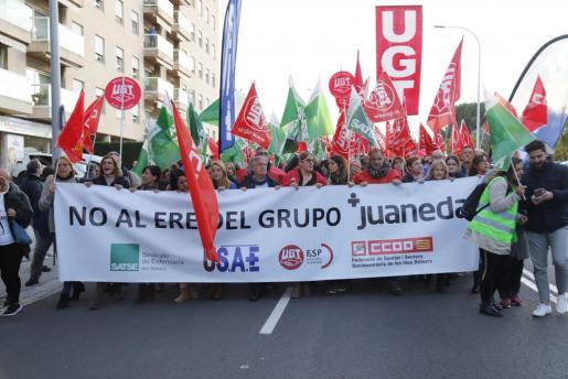La manifestación del 28 de noviembre contra el ERE del grupo Juaneda.