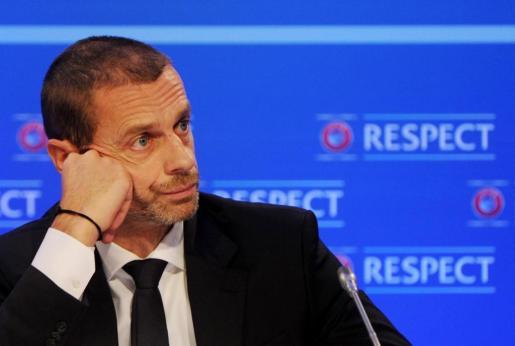 El presidente de la UEFA, el esloveno Aleksander Ceferin, durante una rueda de prensa antes del sorteo de la fase final de la Liga de las Naciones en Dublín.