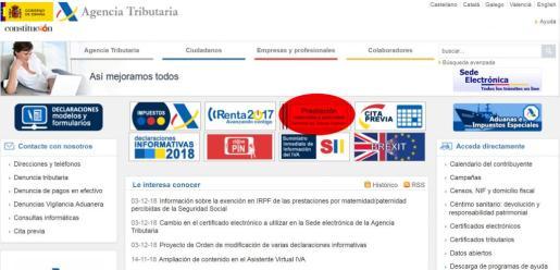 En rojo, el enlace donde se encuentra el formulario para solicitar la devolución del IRPF de las prestaciones de paternidad y maternidad de los años 2014 y 2015.