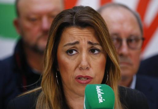 Susana Díaz, en una imagen tras conocer los resultados electorales.