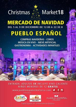Cartel del mercado de Navidad del Pueblo Español de Palma.