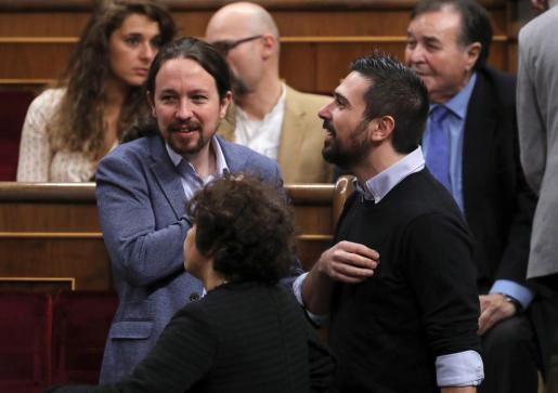 El líder de Podemos, Pablo Iglesias, en el Congreso donde se celebra el acto solemne conmemorativo del 40 aniversario de la Constitución.