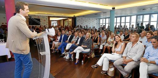Pablo Casado el pasado mes de agosto en Palma, en un acto con la militancia del partido.