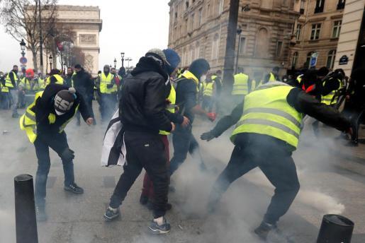 Un momento de las protestas, este sábado en París.