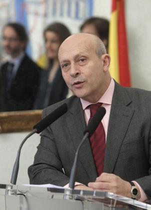 El ministro de Educación, Cultura y Deporte, José Ignacio Wert, pronuncia unas palabras durante la toma de posesión de José María Lassalle de su cargo al frente de la Secretaría de Estado de Cultura.