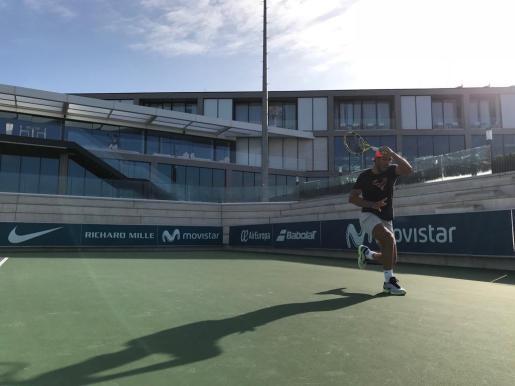 Rafael Nadal se ejercita en las instalaciones de la Rafa Nadal Academy by Movistar en Manacor.