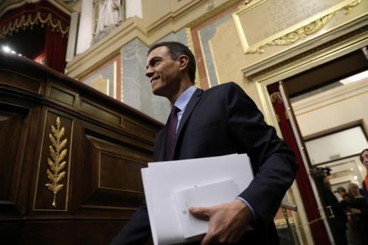 Pedro Sánchez en el Parlamento.