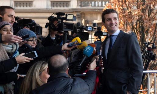 El presidente del PP Pablo Casado, durante la Cumbre de Líderes del Partido Popular Europeo, previa a la cumbre europea, en Bruselas.
